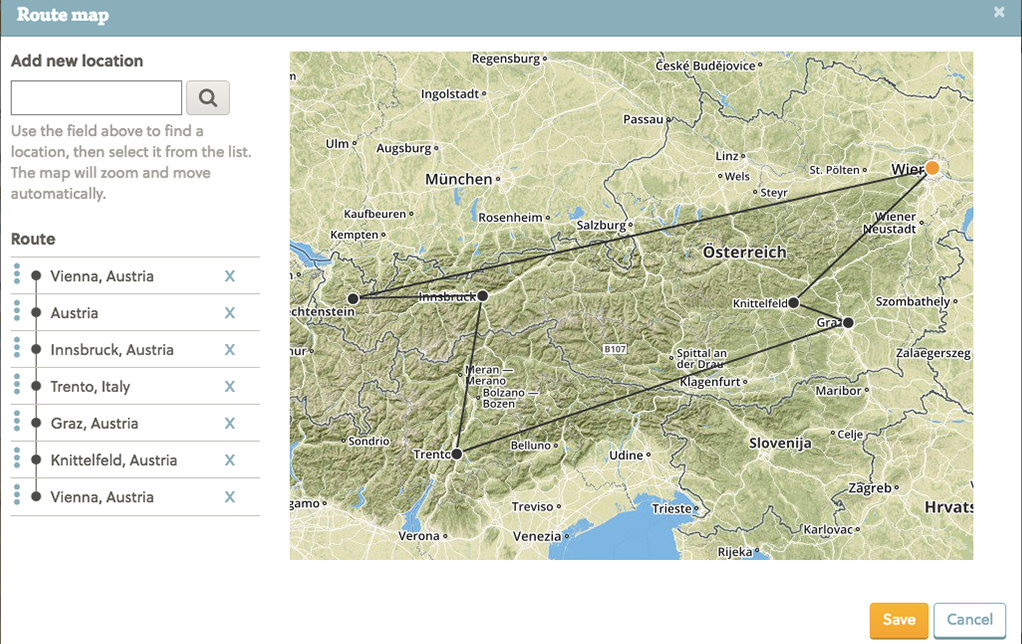 Show your route on a map in travel Diaries